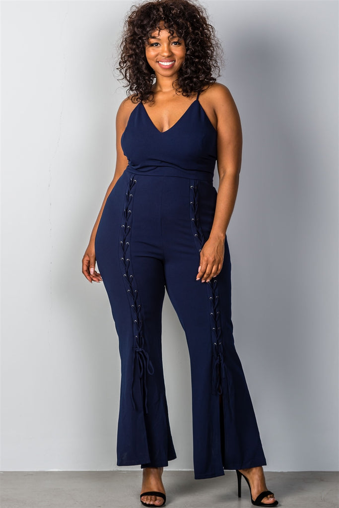 Plus Size Lace Up Bell Bottom Leg Jumpsuit In Navy Limit 33