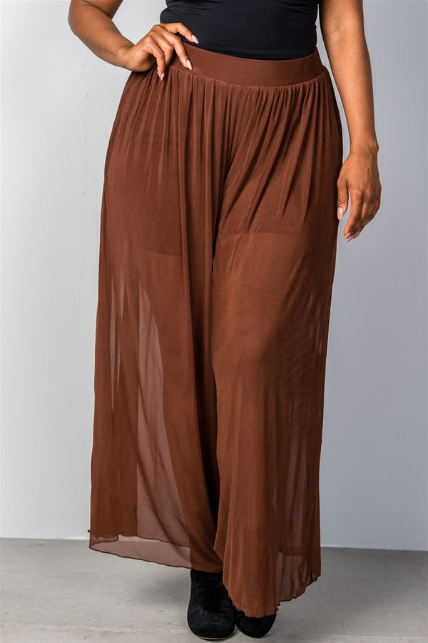 Plus Size Sheer Flowy Party Pants in Brown