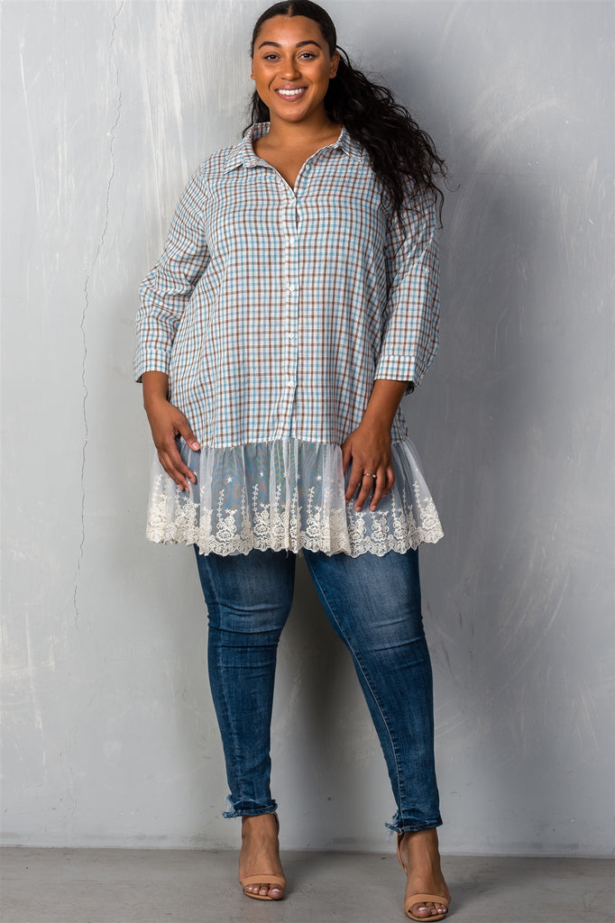 Plus Size Gingham Lace Blouse in Mint