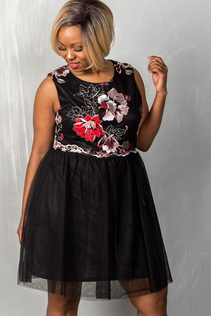 Plus Size Floral Fit and Flare Tulle Dress