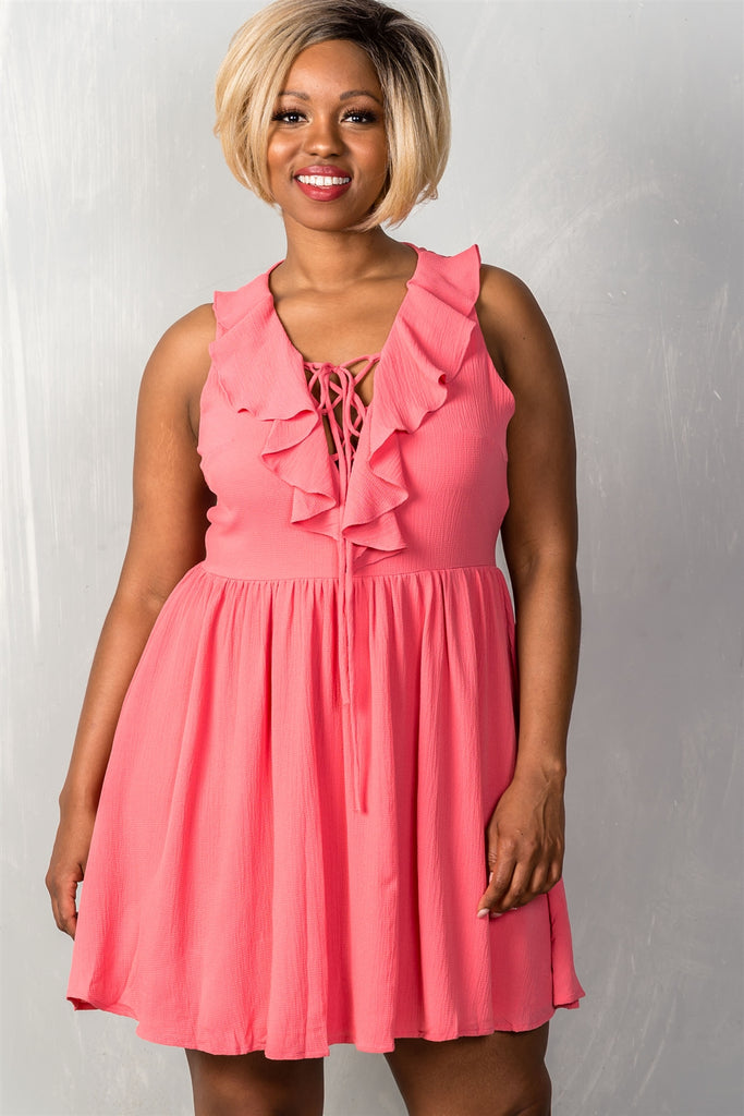 Plus Size V-Neck Ruffle Dress in Coral