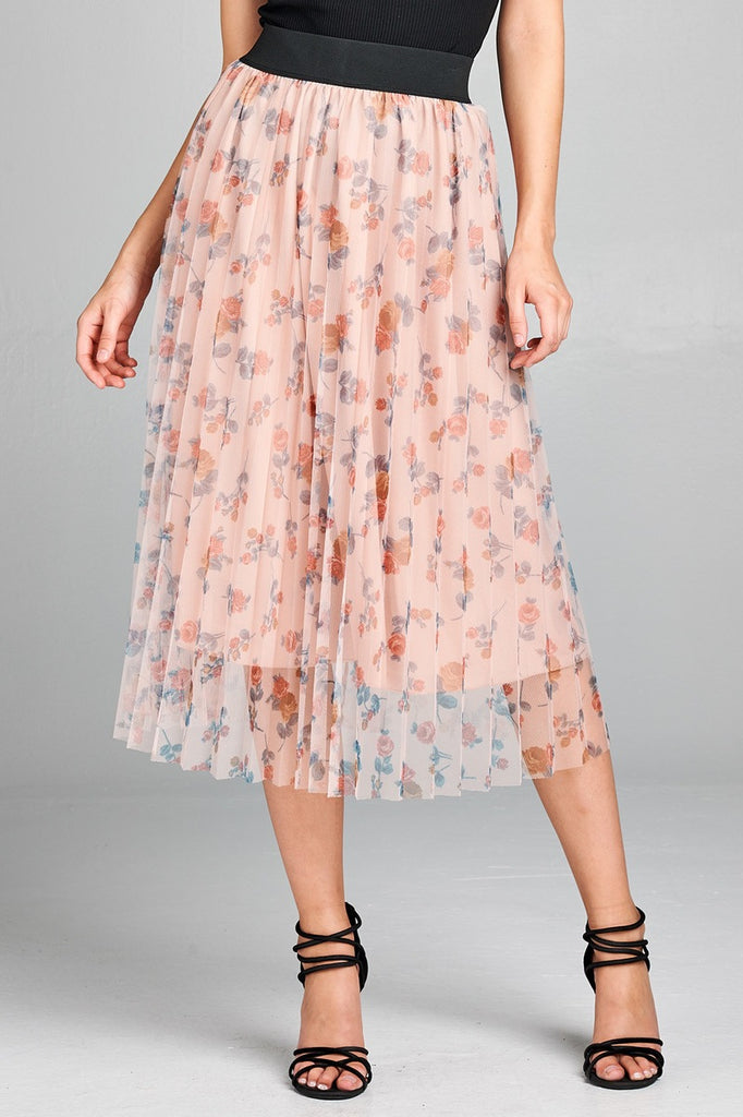 Floral Mesh Midi Skirt in Blush