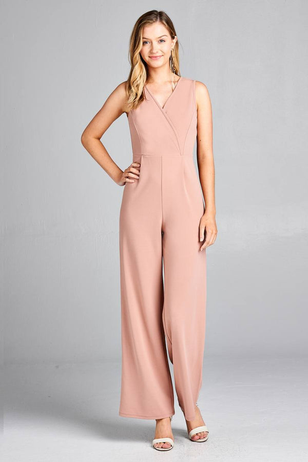 V-Neck Wide Leg Jumpsuit in Blush