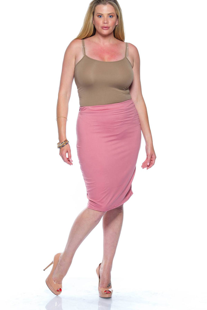 Plus Size Pink Midi Bodycon Skirt
