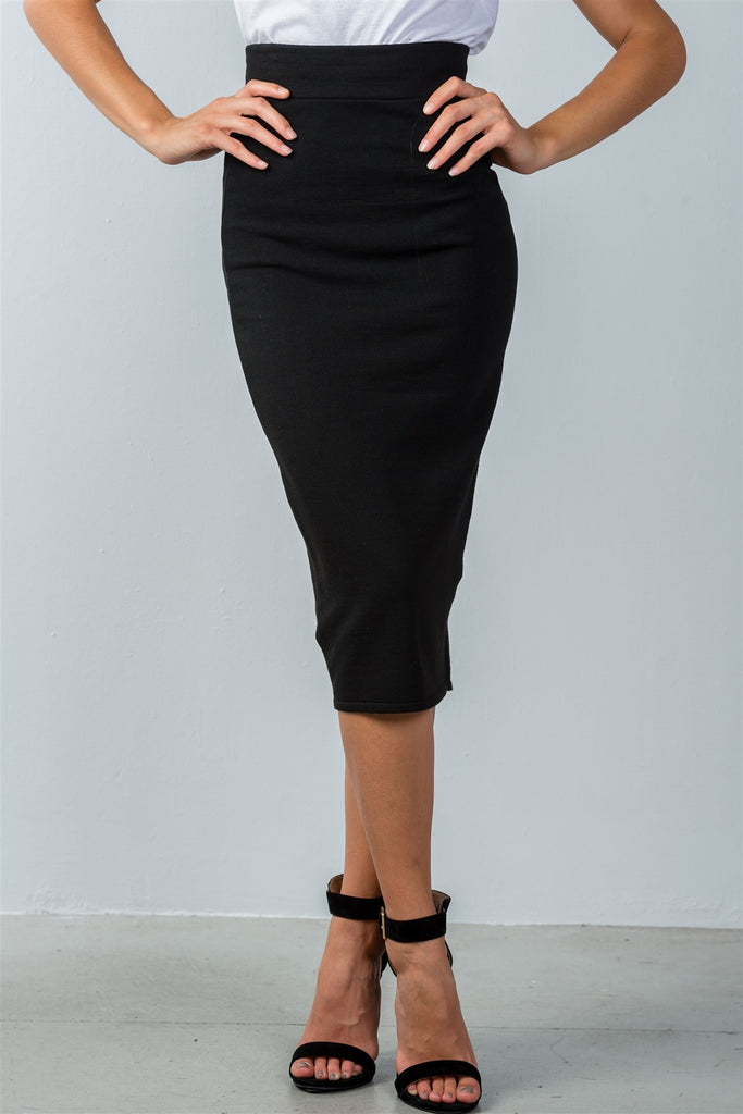 High Waisted Ribbed Knit Midi Skirt in Black