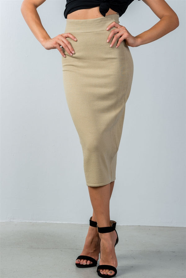 High Waisted Ribbed Knit Midi Skirt in Khaki