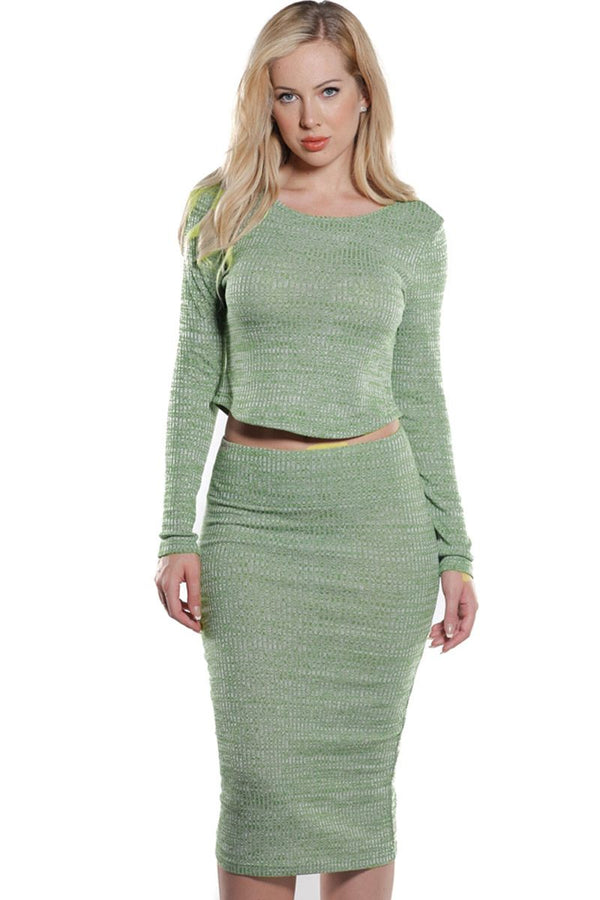 Rib Knit Crop Top and Skirt Set in Autumn Green