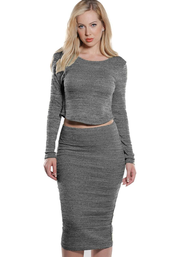 Rib Knit Crop Top and Skirt Set in Charcoal Grey