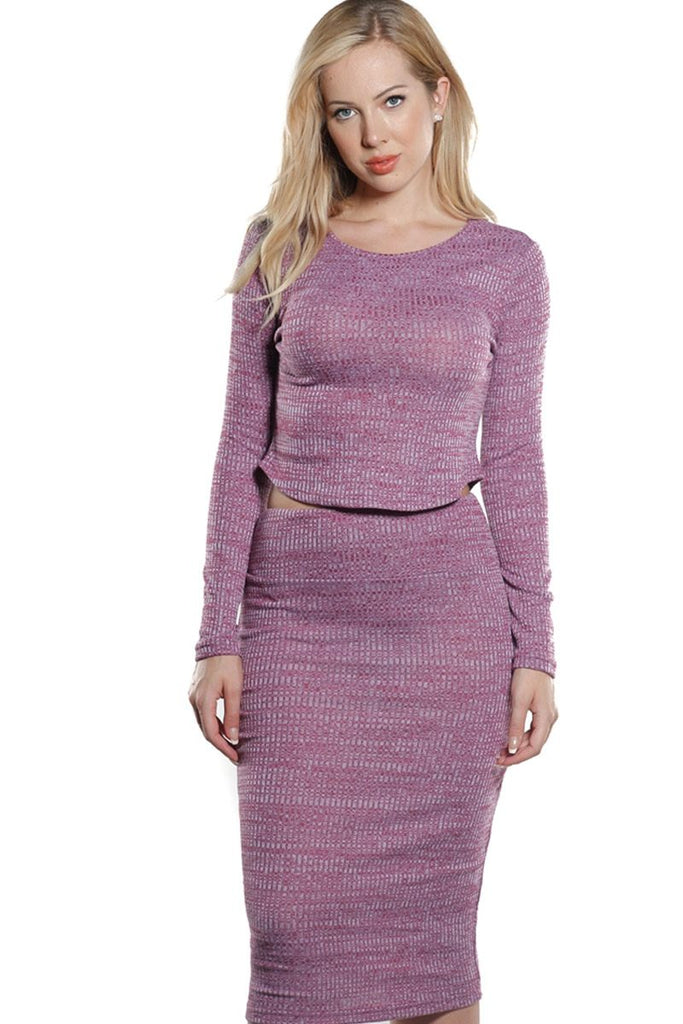 Rib Knit Crop Top and Skirt Set in Moroccan Purple