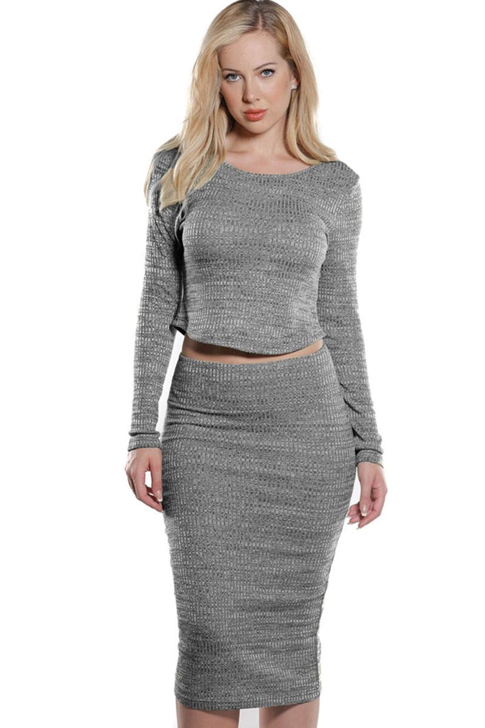 Rib Knit Crop Top and Skirt Set in Heather Grey