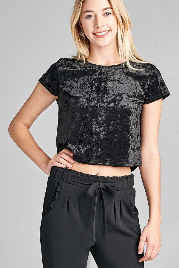 Velvet Crop Top in Black