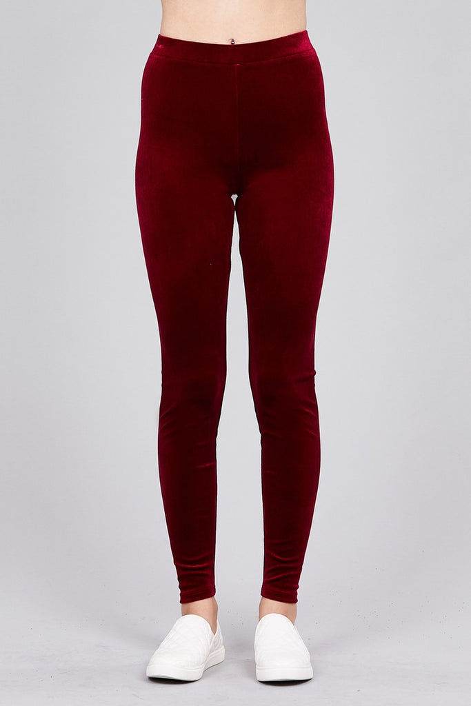 Velvet Leggings in Red
