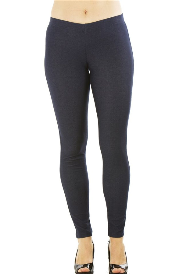 Stretchy Cotton Blend Leggings in Navy Blue