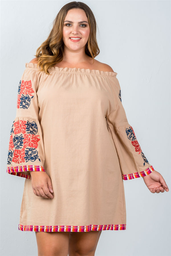 Plus Size Off-The-Shoulder Shift Dress in Mocha