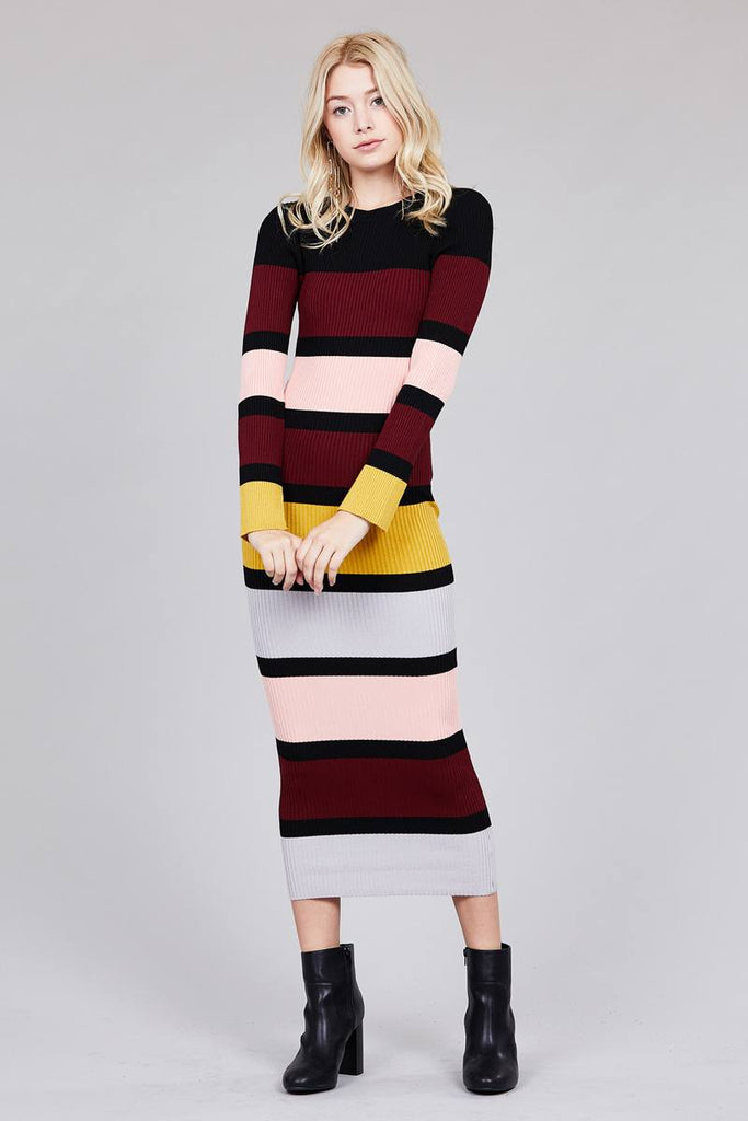 Long Sleeve Color Block Maxi Dress in Pink and Burgundy