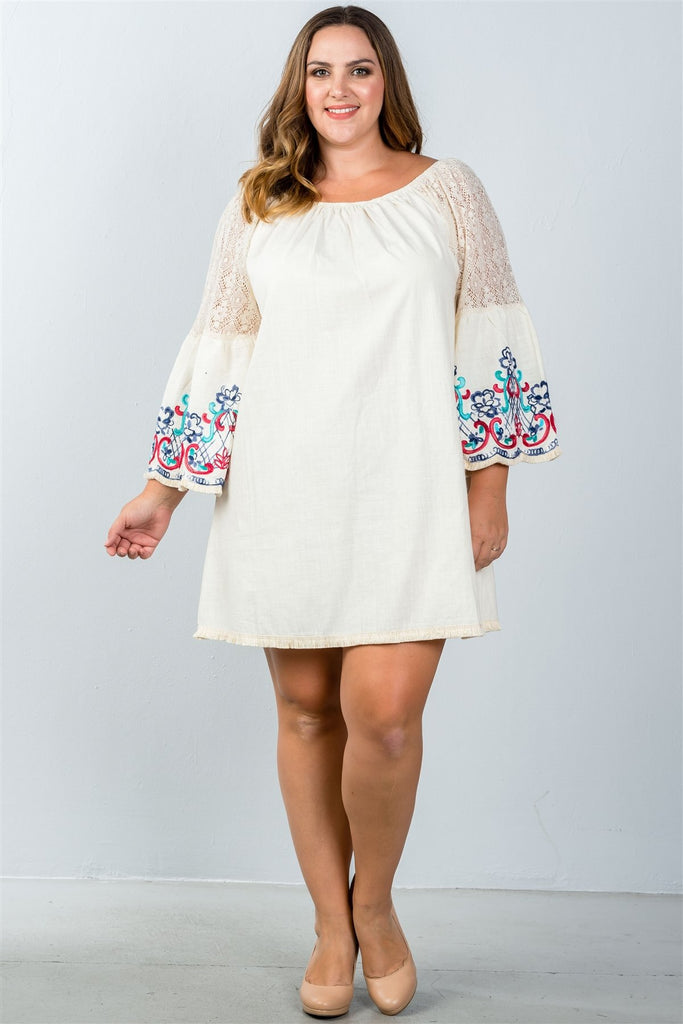 Plus Size Floral Bell Sleeve Shift Dress in Beige