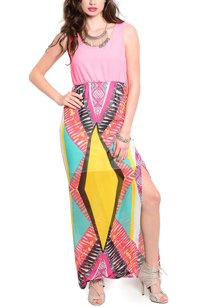 Aztec Split Maxi Dress