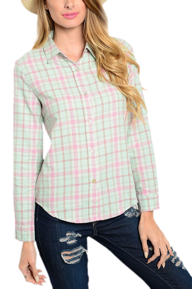 Plaid Button-Front Shirt in Mint
