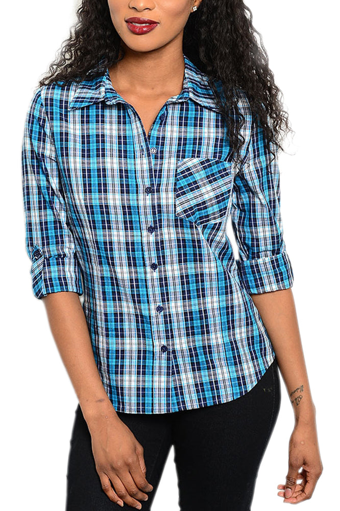 Plaid Button-Front Shirt in Blue