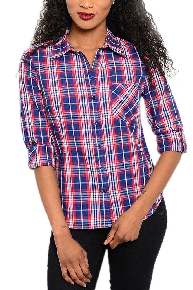 Plaid Button-Front Shirt in Red