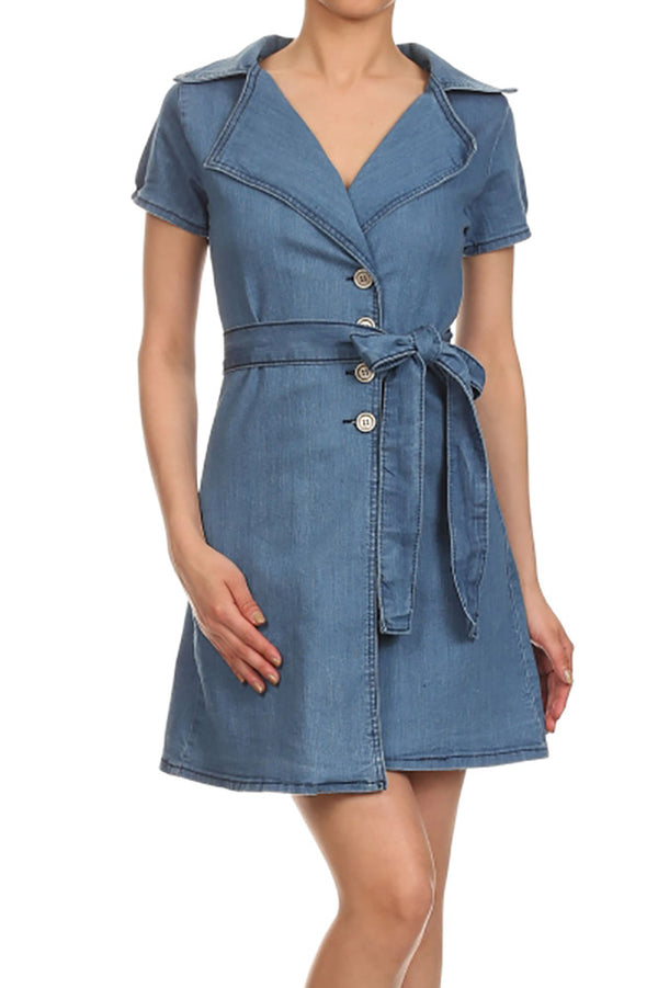 Sleeveless Button-Front Denim Dress