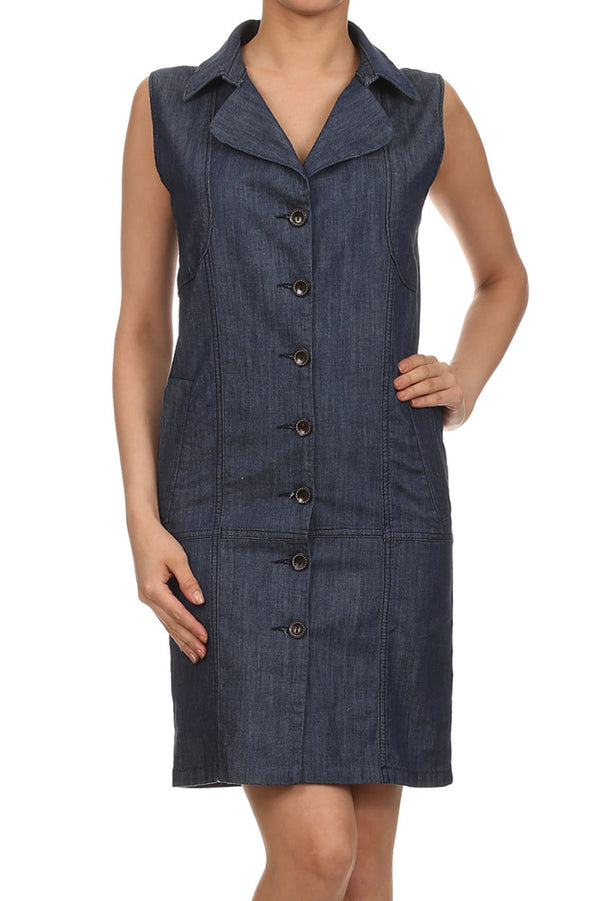 Sleeveless Button-Front Dark-Wash Denim Dress