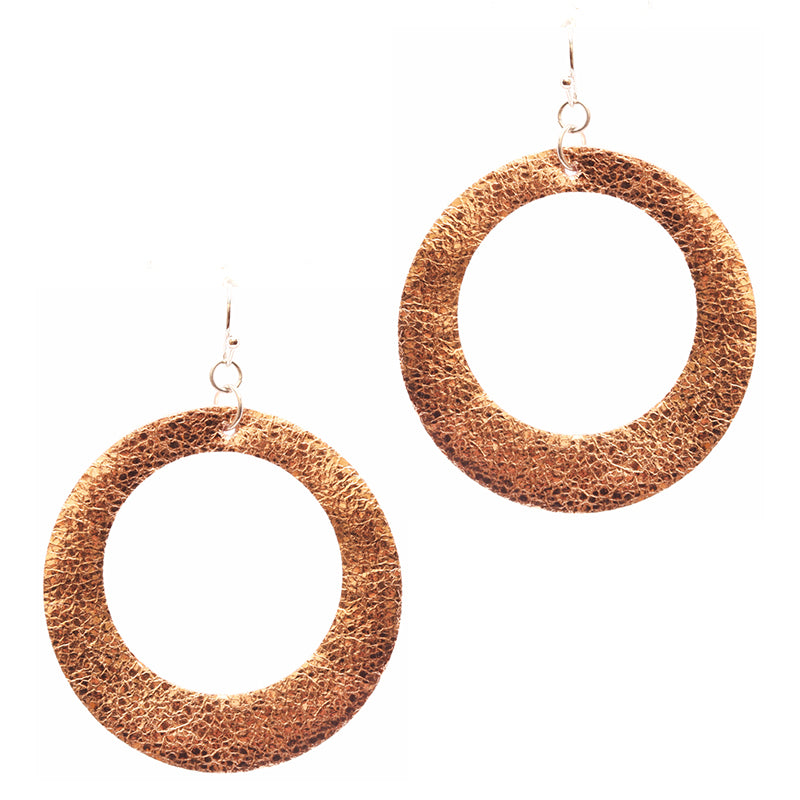 Metallic Open Hoop Drop Earrings