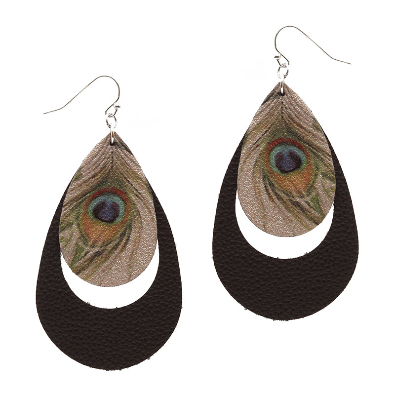 Peacock Feather Print Fabric Earrings