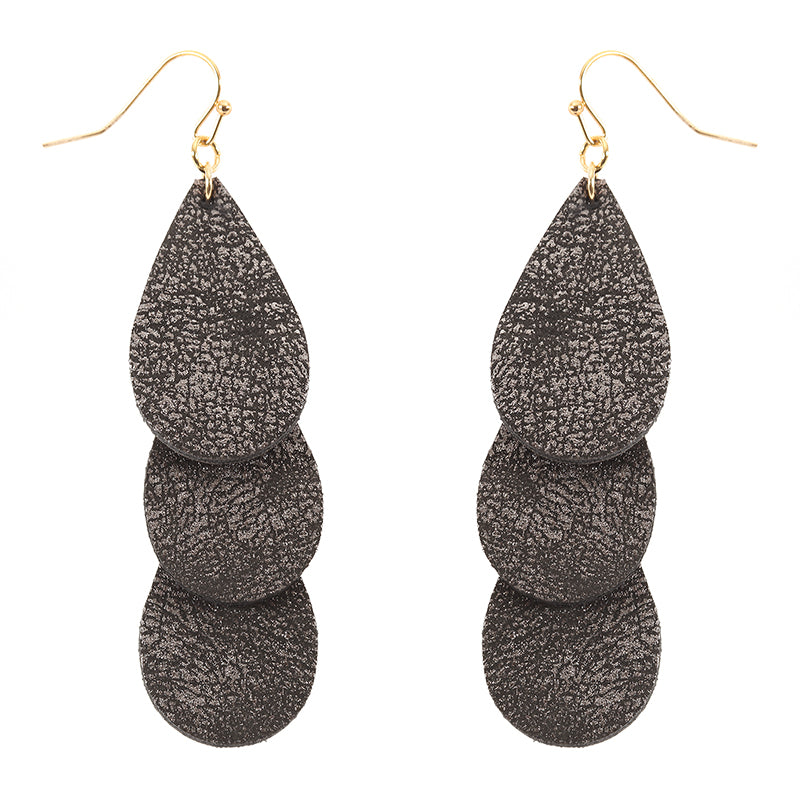 Layered Teardrop Fabric Drop Earrings