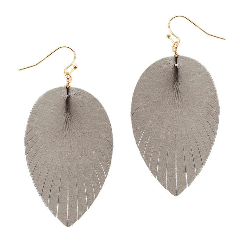 Pleated Feather Fabric Drop Earrings