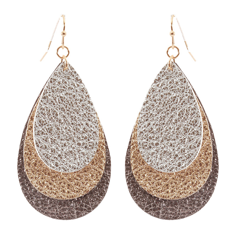Layered Metallic Fabric Drop Earrings