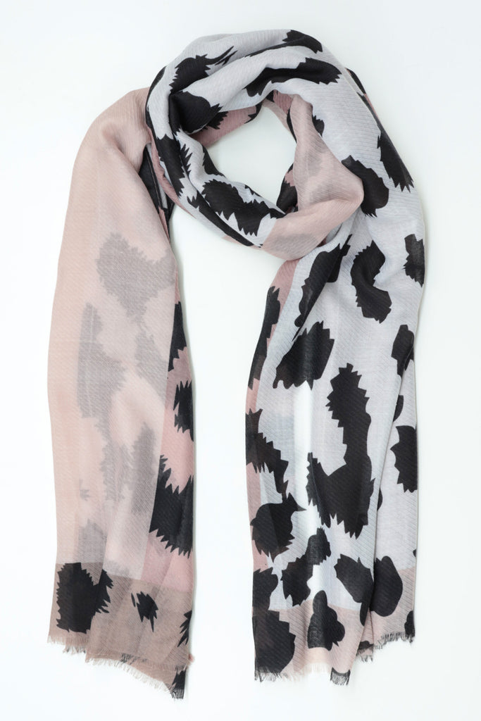 Leopard Panel Scarf - Taupe
