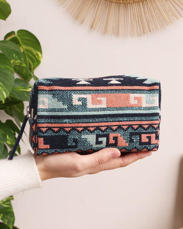 Clare Cosmetic Bag - Blue Aztec