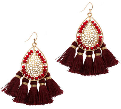 Beaded Teardrop Tassel Earrings