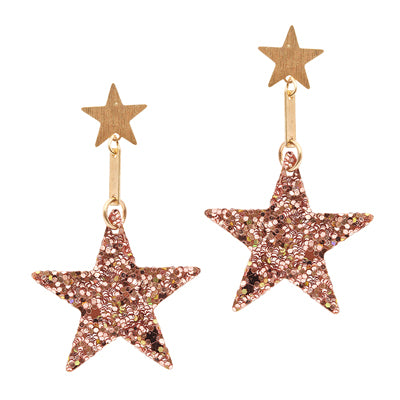 Lightweight Drop Glitter Star Earrings