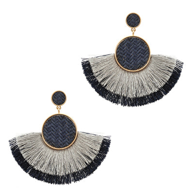 Rafia Flared Fan Earrings