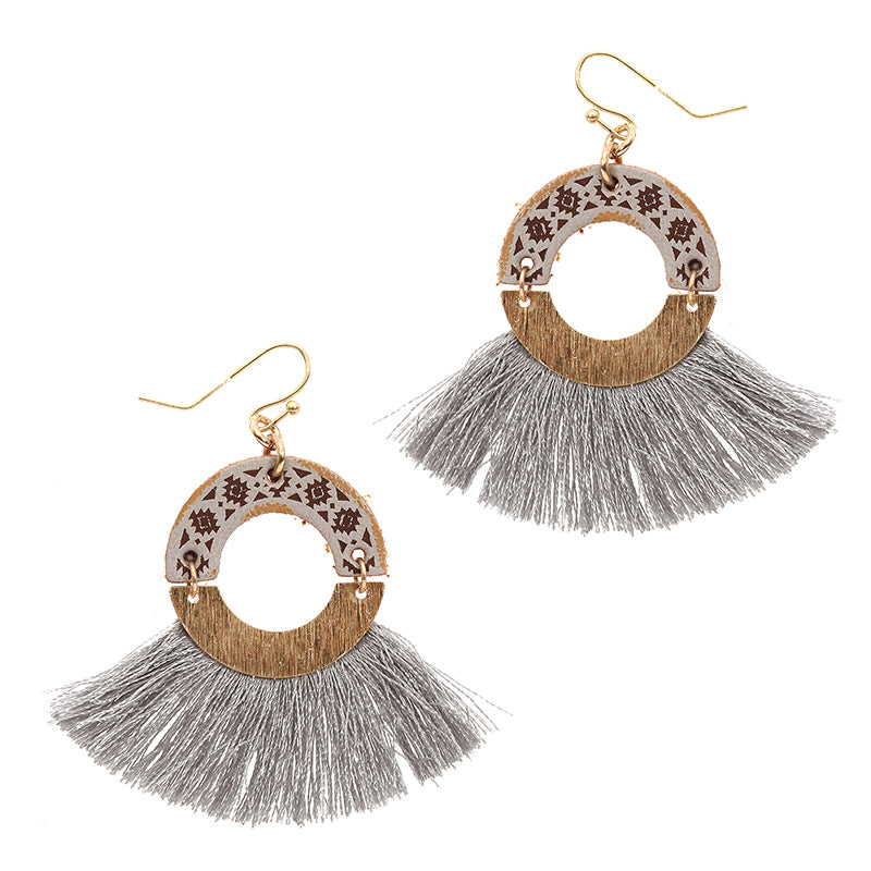 Wood Effect Trim Tassel Earrings