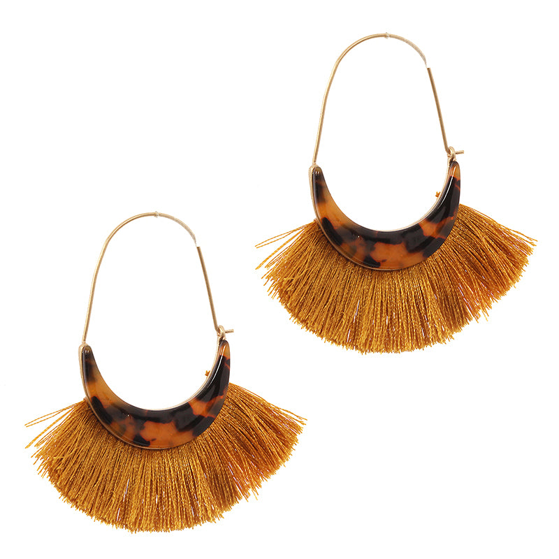 Tortoiseshell Trim Tassel Earrings