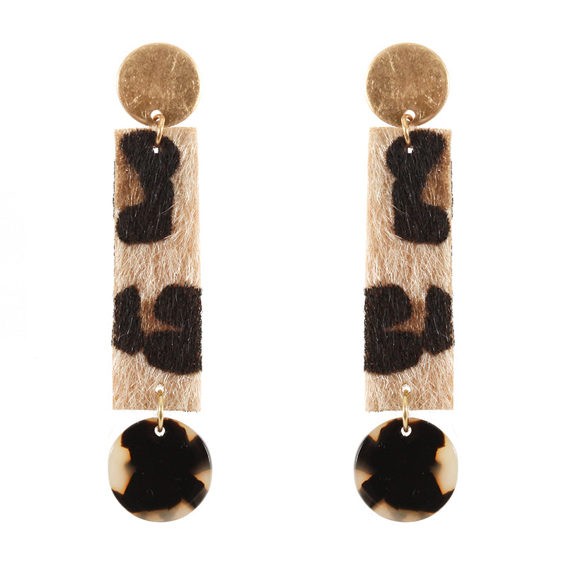 Leopard Print Long Earrings