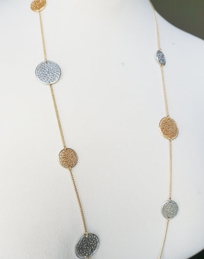 Long Mesh Disc Necklace Set