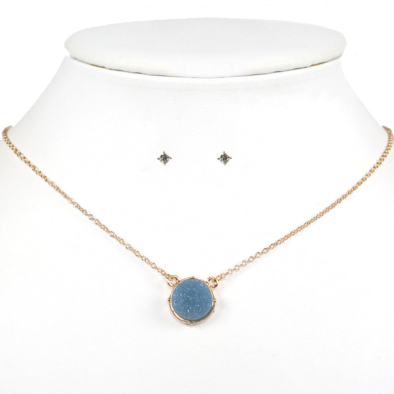Druzy Circle Necklace Set
