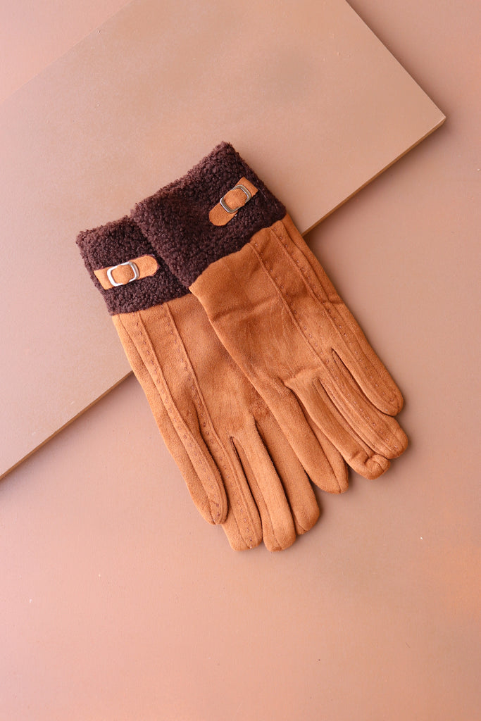 Cuffed Gloves - Brown