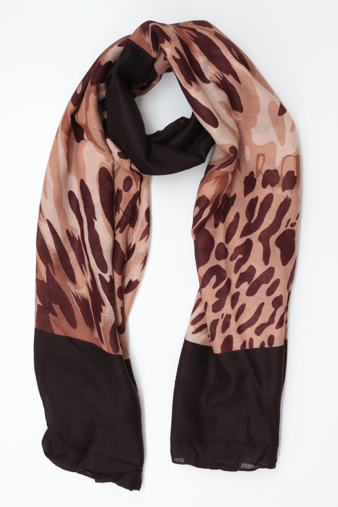 Coloured Print Scarf - Brown