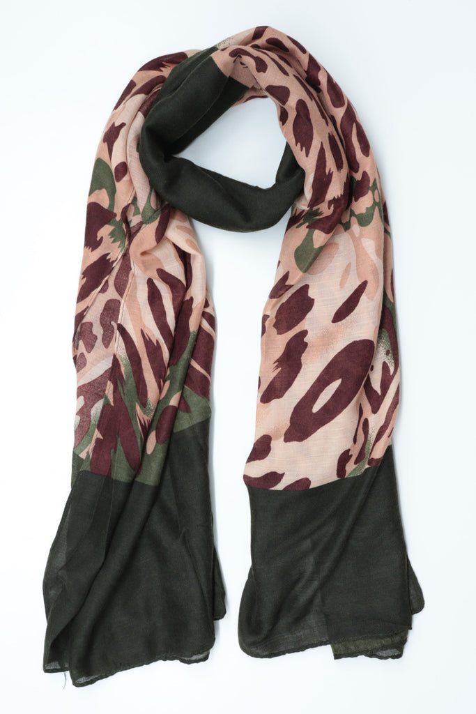 Coloured Print Scarf - Olive