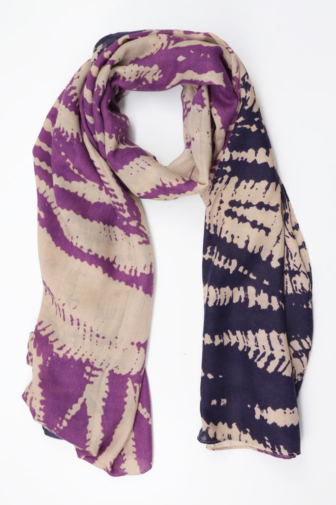 Two-Tone Patterned Scarf - Purple