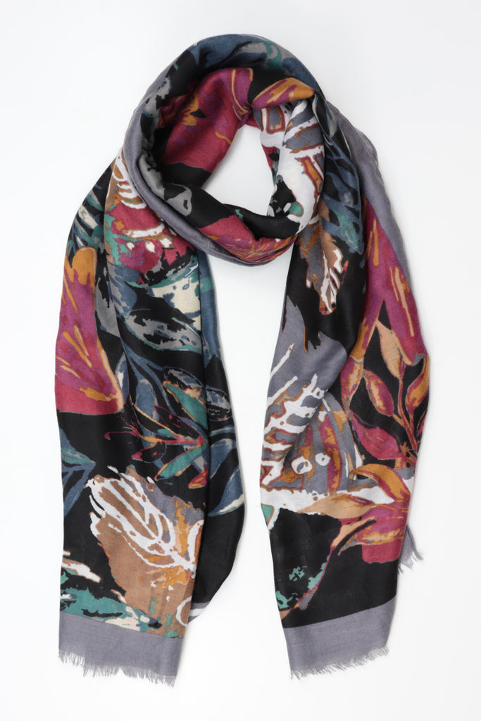 Multicoloured Leaves Print Scarf - Grey