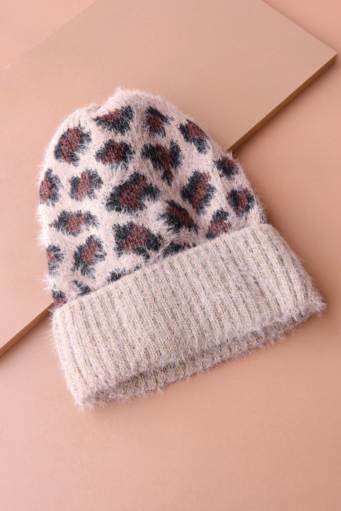 Leopard Woolly Hat - Taupe