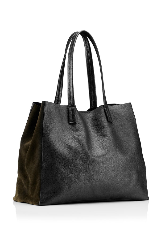 Leather Large Tote - Black / Olive
