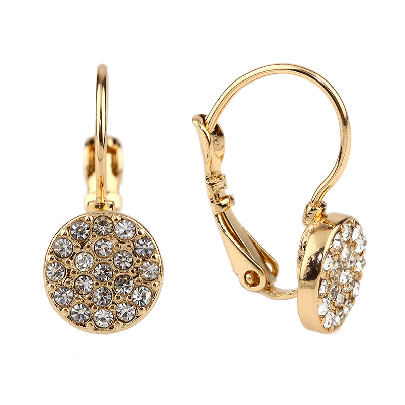 Crystal Drop Button Earrings