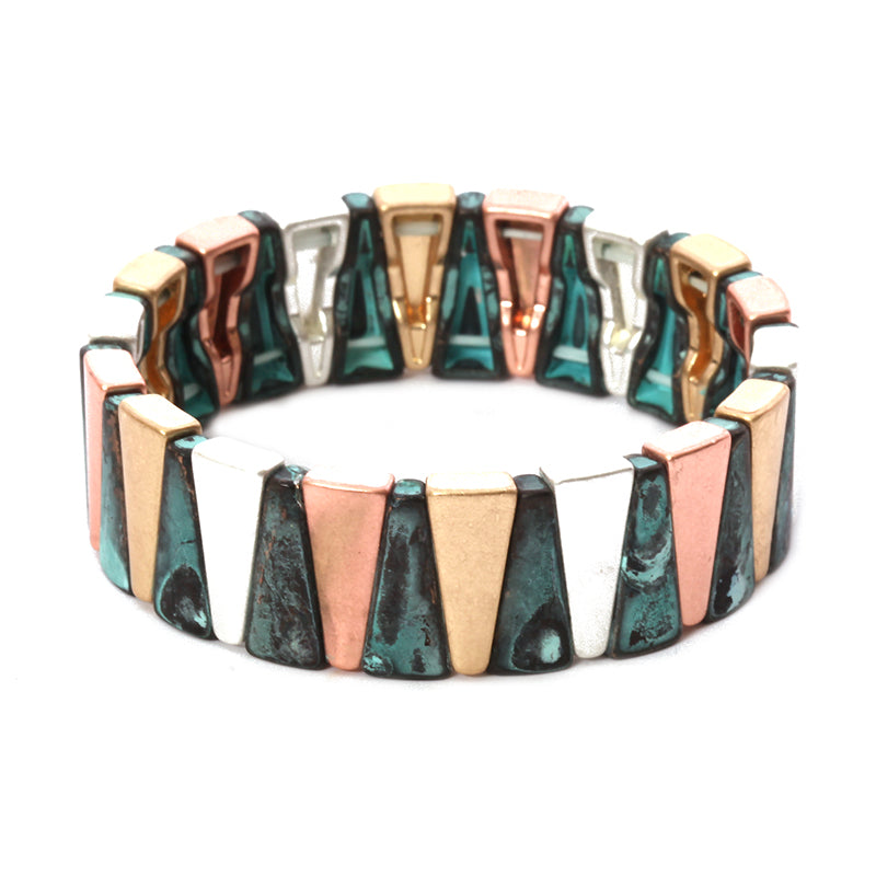Base Metal Geometric Stretch Bracelet